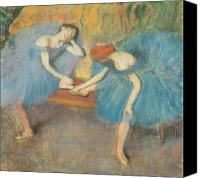 Two Pastels Canvas Prints - Two Dancers at Rest Canvas Print by Edgar Degas
