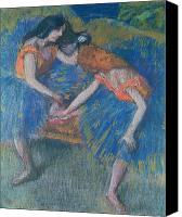 Two Pastels Canvas Prints - Two Dancers Canvas Print by Edgar Degas