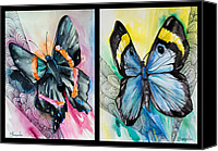 Insects Mixed Media Canvas Prints - Two Princesses Canvas Print by Slaveika Aladjova