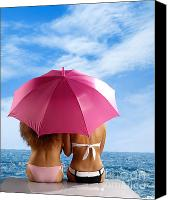 Twenties Photo Canvas Prints - Two Women Relaxing on a Shore Canvas Print by Oleksiy Maksymenko