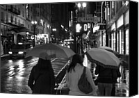 Cities Pyrography Canvas Prints - Umbrellas Canvas Print by Marcel Van Gemert