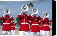Tuba Canvas Prints - U.s. Marine Corps Drum And Bugle Corps Canvas Print by Stocktrek Images
