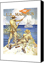 Devil Mixed Media Canvas Prints - US Marines Canvas Print by War Is Hell Store