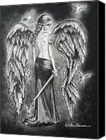 Charcoal Drawing Canvas Prints - Valkyrie Angel Canvas Print by Carla Carson