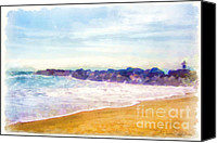 San Diego Mixed Media Canvas Prints - Venice Beach Canvas Print by Dawn Serkin