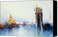 Signed Painting Canvas Prints - Venice Canvas Print by Thomas Moran