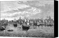 River Transportation Canvas Prints - View Of London, 1550 Canvas Print by Granger