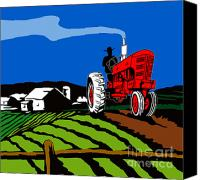Tractor Canvas Prints - Vintage Tractor Retro Canvas Print by Aloysius Patrimonio