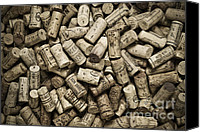 Monochrome Canvas Prints - Vintage Wine Corks Canvas Print by Frank Tschakert
