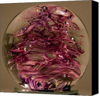 Art Sculpture Glass Art Canvas Prints - Violet Swirl Canvas Print by David Patterson