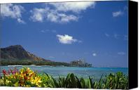 Waikiki Canvas Prints - Waikiki And Diamond Head Canvas Print by Tomas del Amo - Printscapes