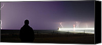 Storm Prints Canvas Prints - Watching a Lightning Storm Canvas Print by Jeramie Curtice