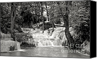 Woodland Canvas Prints - Waterfall Canvas Print by Setsiri Silapasuwanchai