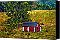 Barn Digital Art Canvas Prints - West Virginia painted Canvas Print by Steve Harrington