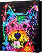 Dogs Canvas Prints - Westie Canvas Print by Dean Russo