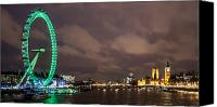London Skyline Canvas Prints - Westminster and the London Eye Canvas Print by Dawn OConnor