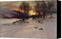 Snowy Trees Painting Canvas Prints - When the West with Evening Glows Canvas Print by Joseph Farquharson