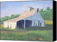 White River Scene Pastels Canvas Prints - White Barn on Bluff Road Canvas Print by Garry McMichael