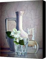 Jasmine Painting Canvas Prints - White on White Canvas Print by Irina Sztukowski