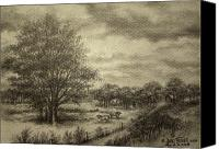 Idyllic Drawings Canvas Prints - Wickliffe Landscape  Canvas Print by Debi Frueh