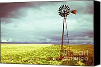 Construction Canvas Prints - Windmill Against Autumn Sky Canvas Print by Gordon Wood