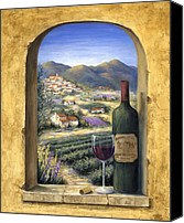 Wine Canvas Prints - Wine and Lavender Canvas Print by Marilyn Dunlap