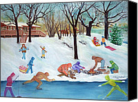 Skating Pastels Canvas Prints - Winter Fun Canvas Print by LaReine McIlrath