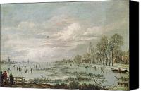 Ice-skating Canvas Prints - Winter Landscape Canvas Print by Aert van der Neer