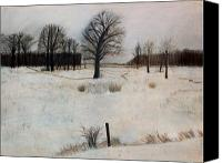 Landscapes Pastels Canvas Prints - Winter Oaks Canvas Print by Jack Spath