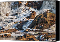 Ice Canvas Prints - Winter Sunrise Great Falls  Maine Canvas Print by Bob Orsillo