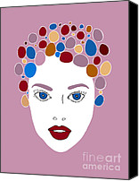 Faces Drawings Canvas Prints - Woman in Fashion Canvas Print by Frank Tschakert