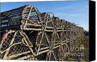 Trap Canvas Prints - Wooden Lobster Traps Canvas Print by John Greim
