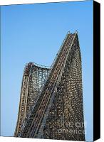 Eerie Canvas Prints - Wooden Roller Coaster Canvas Print by John Greim