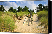 Railing Canvas Prints - Wooden stairs over dunes at beach Canvas Print by Elena Elisseeva