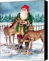 Father Christmas Canvas Prints - Woodland Series Canvas Print by Barbel Amos