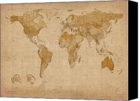 Print Digital Art Canvas Prints - World Map Antique Style Canvas Print by Michael Tompsett