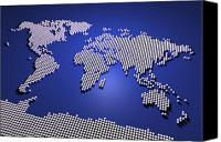 Global Digital Art Canvas Prints - World Map in Blue Canvas Print by Michael Tompsett
