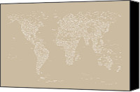 Geography Canvas Prints - World Map of Cities Canvas Print by Michael Tompsett