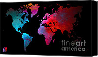 Europe Mixed Media Canvas Prints - World Map Canvas Print by The DigArtisT