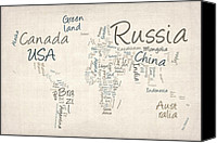 Map Of The World Digital Art Canvas Prints - Writing Text Map of the World Map Canvas Print by Michael Tompsett
