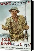 Flagg Canvas Prints - Wwii Recruiting Poster Canvas Print by Granger