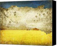 Old Wall Canvas Prints - Yellow Field On Old Grunge Paper Canvas Print by Setsiri Silapasuwanchai