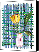 Tulip Mixed Media Canvas Prints - Yellow Tulip in a Pink Vase Canvas Print by Sarah Loft
