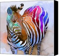 Colorful Canvas Prints - Zebra Dreams Canvas Print by Galen Hazelhofer