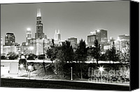 Chicago Canvas Prints - Chicago Skyline at Night Canvas Print by Paul Velgos