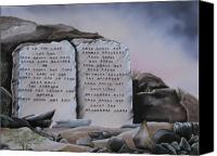 Rj Mcnall Canvas Prints - 10 Commandments Canvas Print by RJ McNall