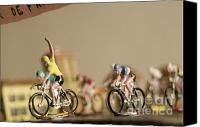 Miniatures Canvas Prints - Cyclists Canvas Print by Bernard Jaubert
