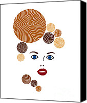 Brown Drawings Canvas Prints - Illustration of a woman in fashion Canvas Print by Frank Tschakert