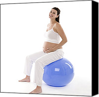 Fitness Ball Canvas Prints - Pregnant Woman Canvas Print by