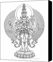 Buddhist Drawings Canvas Prints - 1000-Armed Avalokiteshvara Canvas Print by Carmen Mensink